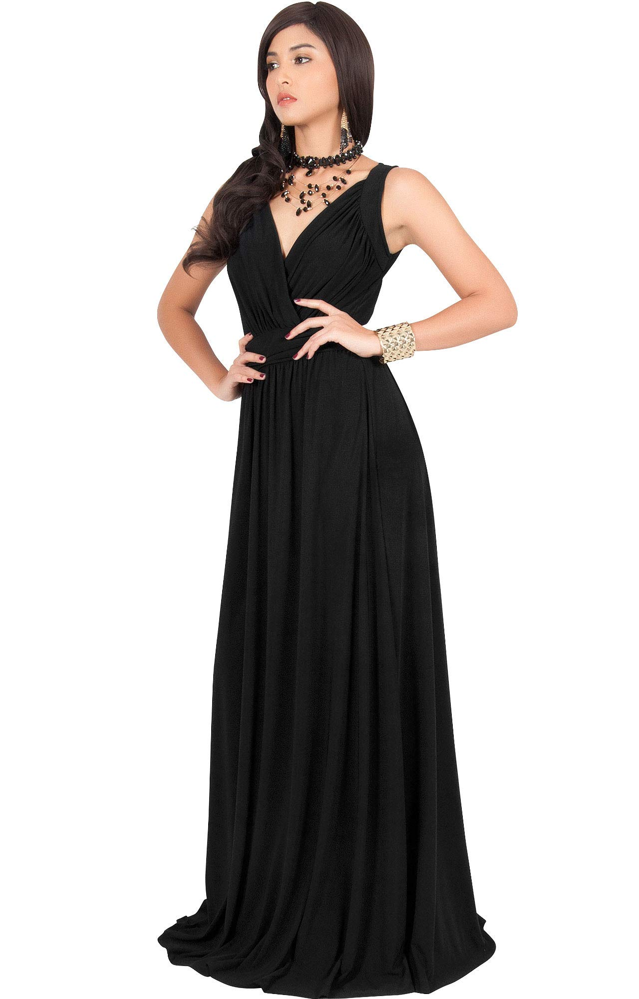 KOH KOH Womens Long Sleeveless Flowy Bridesmaids Cocktail Party Evening Formal Sexy Summer Wedding Guest Ball Prom Gown Gowns Maxi Dress Dresses, Black L 12-14 by KOH KOH (Image #4)