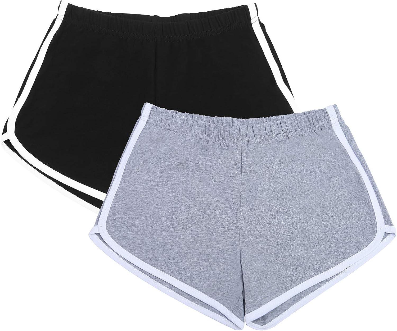 URATOT 2 Pack Cotton Sport Shorts Yoga Dance Short Pants ...
