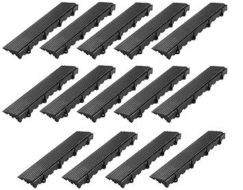 BodenMax BD9011-M Rand- und Eckstücke, Seitenteile Gerade mit Öse(14 Stück,  Schwarz)