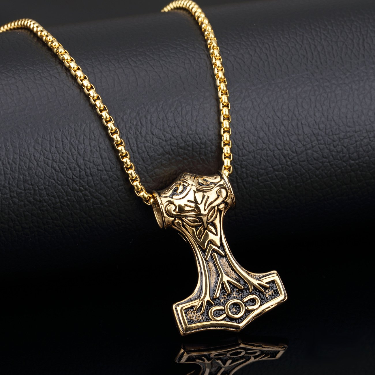 PAURO Hommes Acier Inoxydable Acier Pendentif Collier Bijoux Viking Or//Argent