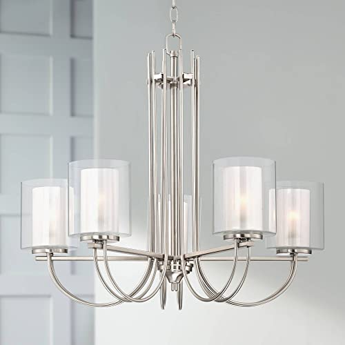 Melody Brushed Nickel Chandelier 26 3 4 Wide Modern Curved Arms Clear Frosted Glass 5-Light Fixture for Dining Room House Foyer Kitchen Island Entryway Bedroom Living Room – Possini Euro Design