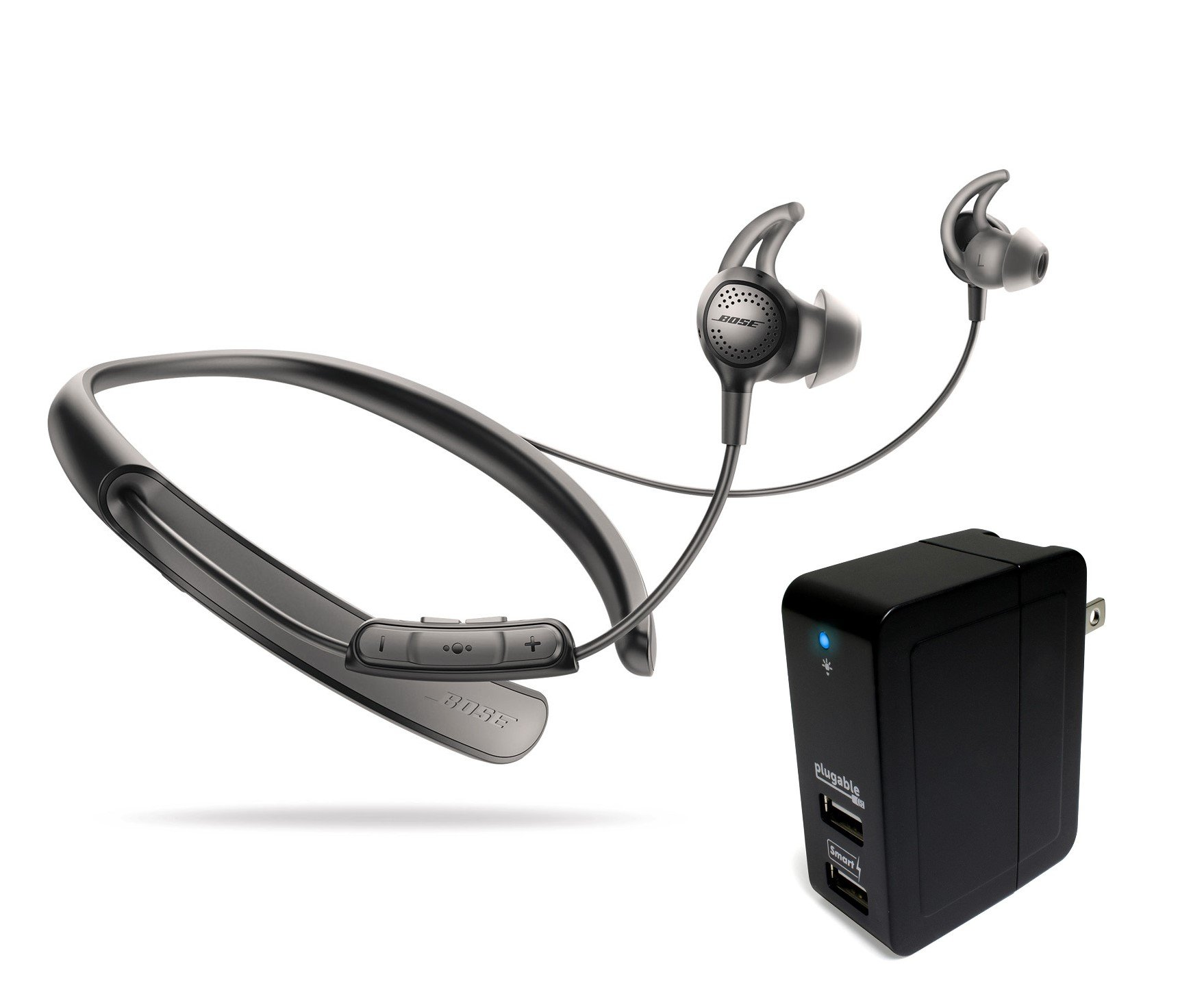 Bose QuietControl 30 Wireless Headphones, Black, with Plugable 2-Port 20W USB Universal Smart Wall Charger by Bose
