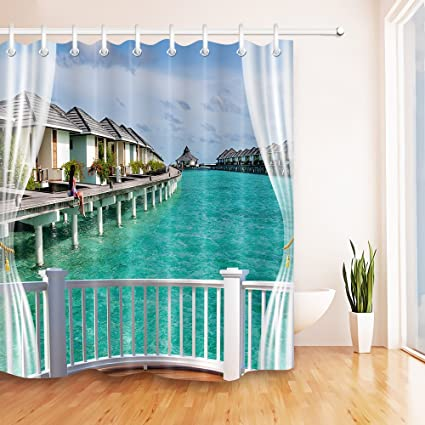LB Fabric Shower Curtain Beach Theme Houese Blue Sea Scene CurtainWaterproof Mildew