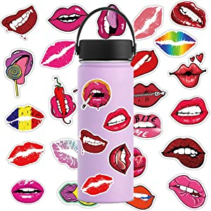 50 Pcs Sexy Lips Stickers for Notebook Laptop and Water Bottles,Waterproof Durable Trendy Vinyl Laptop Decal Stickers Pack for Teens, Water Bottles, Computer, Travel (Sexy Lips)