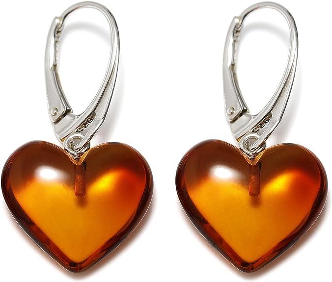 Véritable ambre de la Baltique Naturel Boucles d'oreilles dormeuses pendantes coeurs, cognac, taille unique: Amberdeals