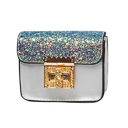 e84e9d7f007be Amazon.com  Small Shoulder Bag Crossbody Bag For Women Glitter Purse  Evening Messenger Bag With Chain Strap (Silver)  Hattfart
