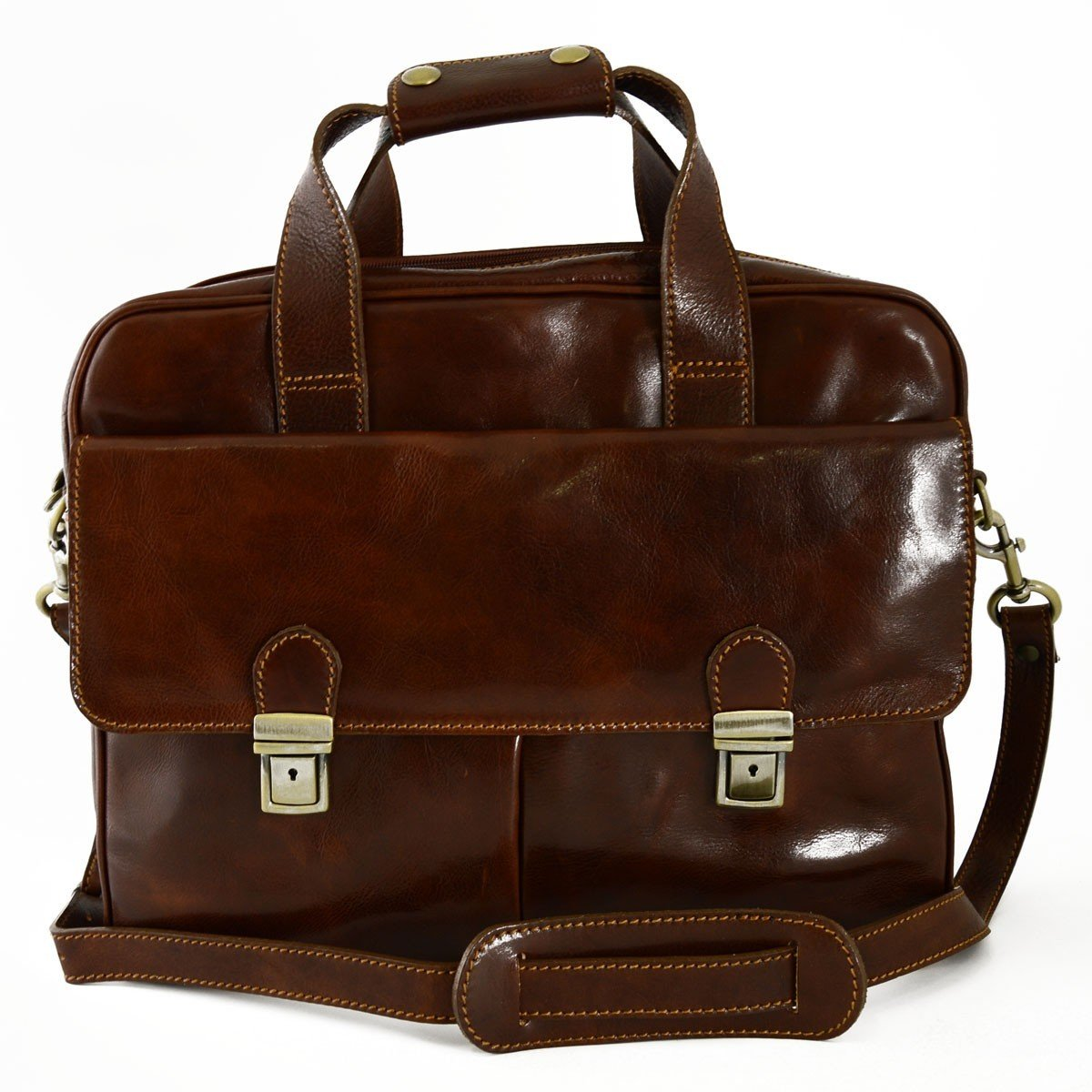 Made In Italy Genuine Leather Business Briefcase With Laptop Compartment Color Brown - Business Bag   B01CQC9KEG