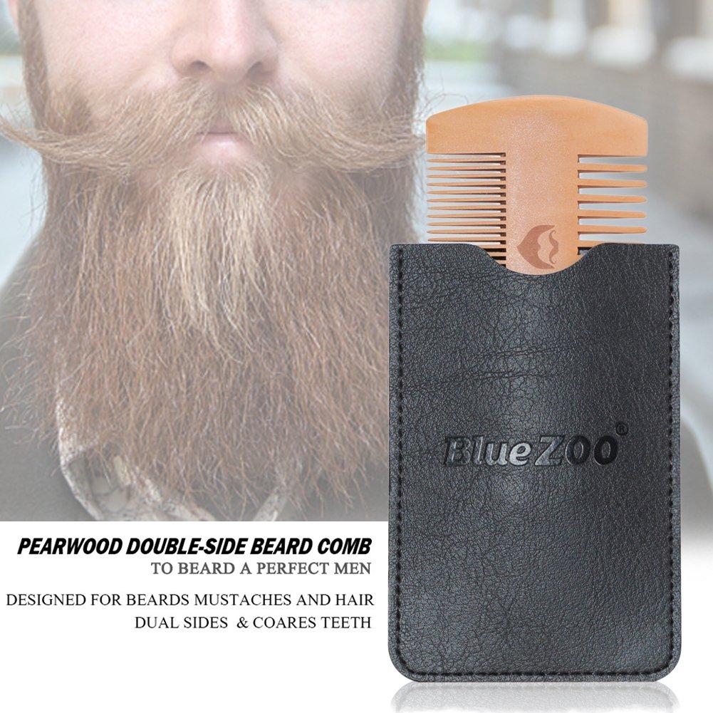 Peine de barba de dos caras portátil barba & bigote bolsillo peine para el cuidado antiestático con cubierta: Amazon.es: Belleza