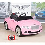 Bentley GTC 12V Kids Ride On Battery Powered Wheels Car with RC Remote and Floor Mat, Pink