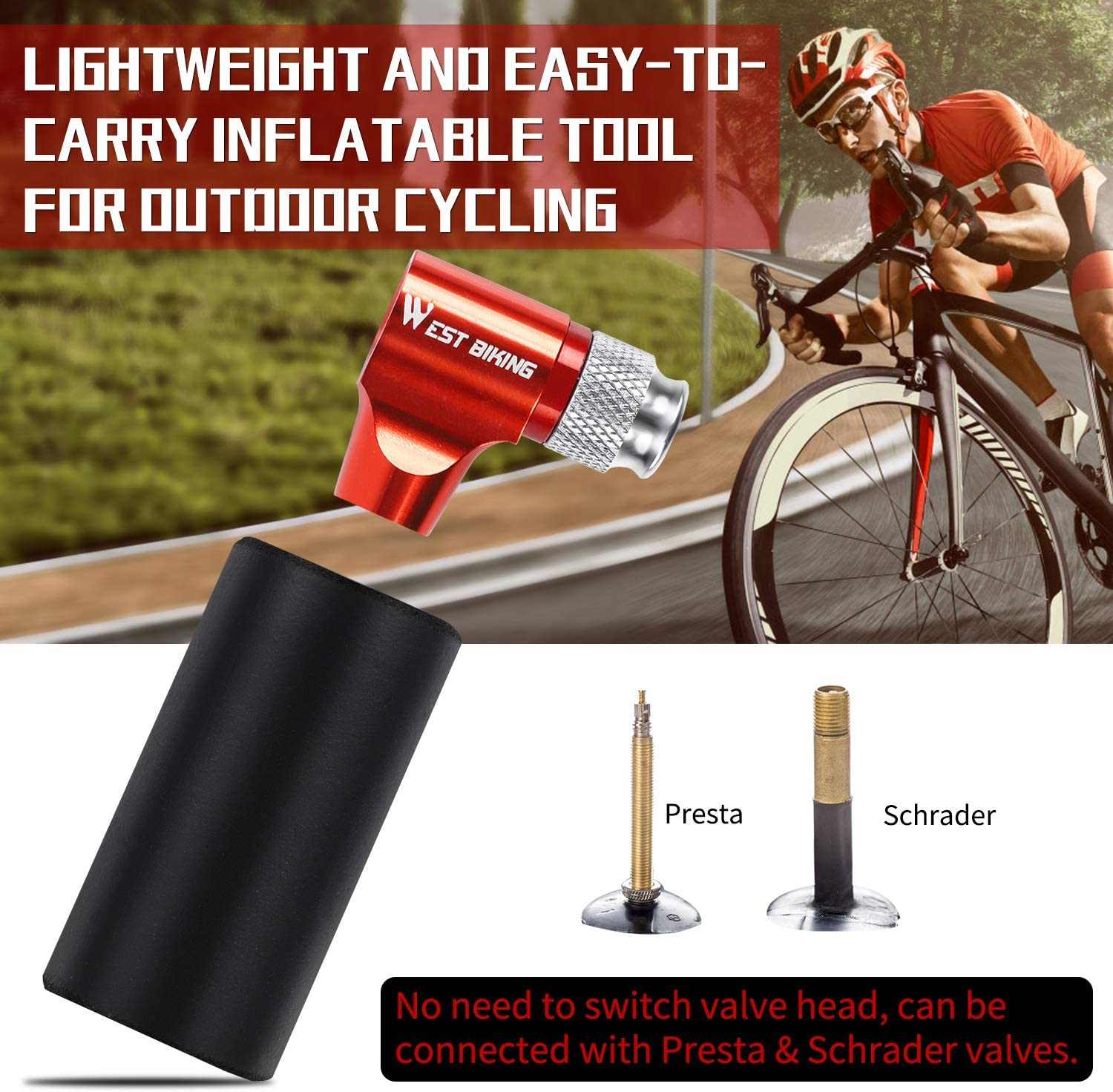 Fits Presta and Schrader Easy Screw-On Design Bicycle Mini Hand Pump with/Insulated Sleeve for Road Mountain Bikes CO2 Inflator Bike Tire Pump No CO2 Cartridges Included