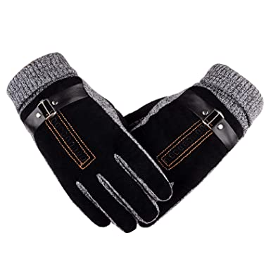 c1b72a7995ffb Heekpek® Men's Winter Leather Gloves Thick Warm Fleece Windproof Gloves  Cold Proof Mittens for Driving