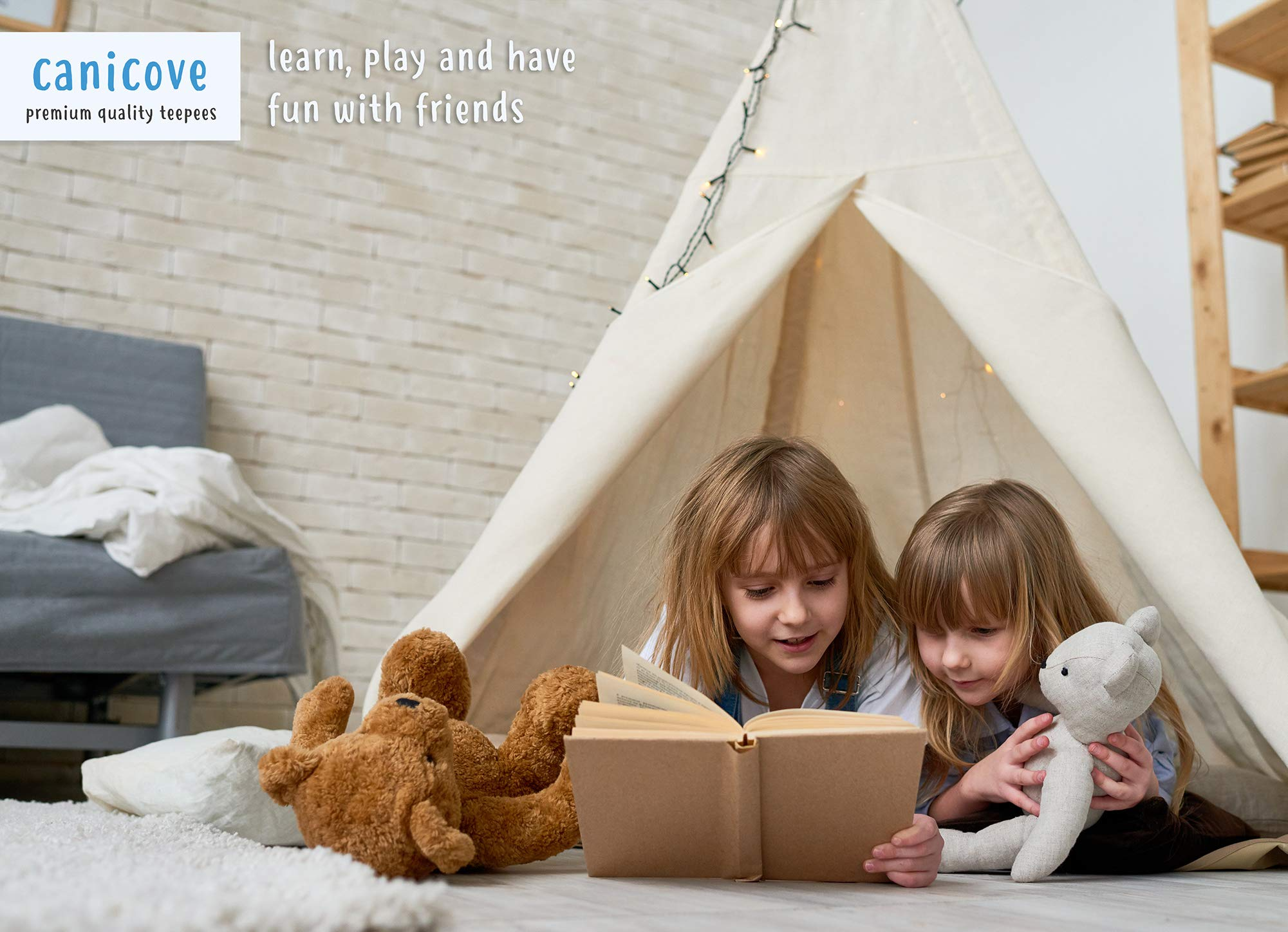 Canicove Teepee Tent for Kids - Award Winning 100% Cotton Play Tent - Large Indoor/Outdoor Tipi for Boys & Girls + Free Fun Flags! by Canicove (Image #7)