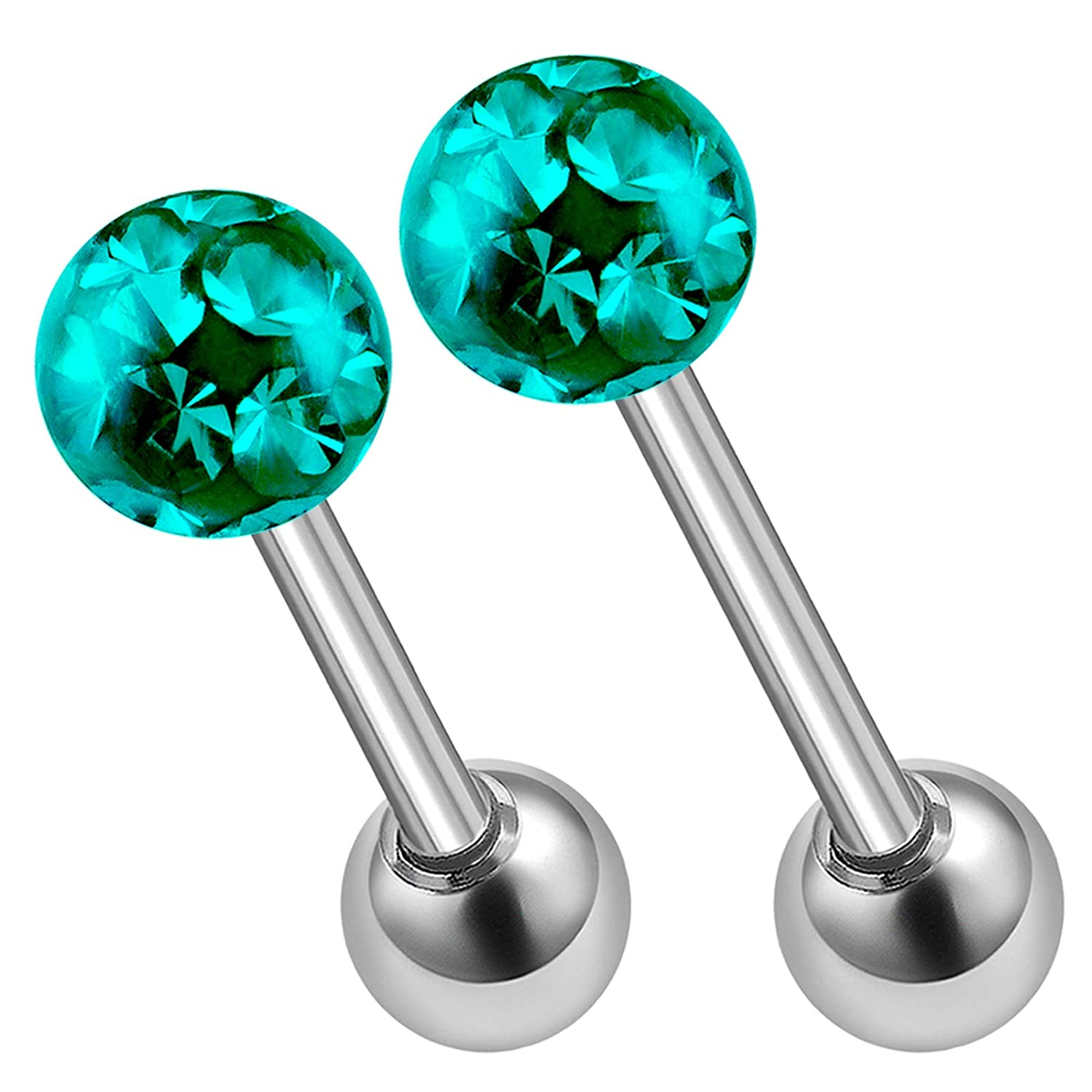 2Pcs Steel 16g 6mm 8mm Tragus Earrings Piercing Jewelry Lip Medusa Spiderbite Nose Cartilage 4mm Crystal Ball More Choices