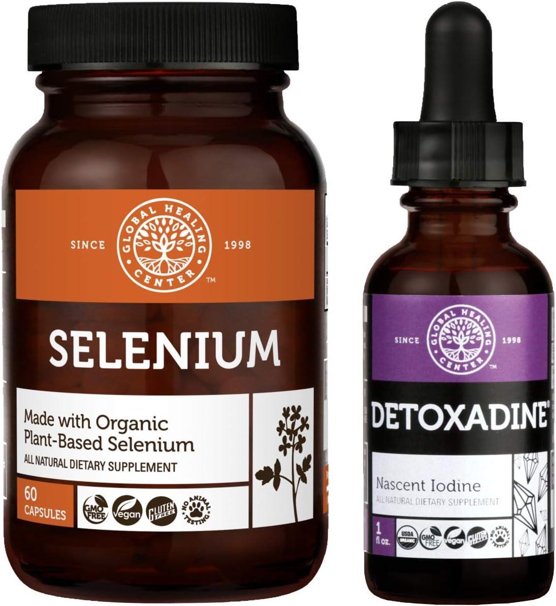 Global Healing Detoxadine and Selenium Kit - Organic Nascent Liquid Iodine Supplement Drops & Vegan Antioxidant for Thyroid Support & Normal Immune System Health - Women & Men - 1 Fl Oz & 60 Capsules