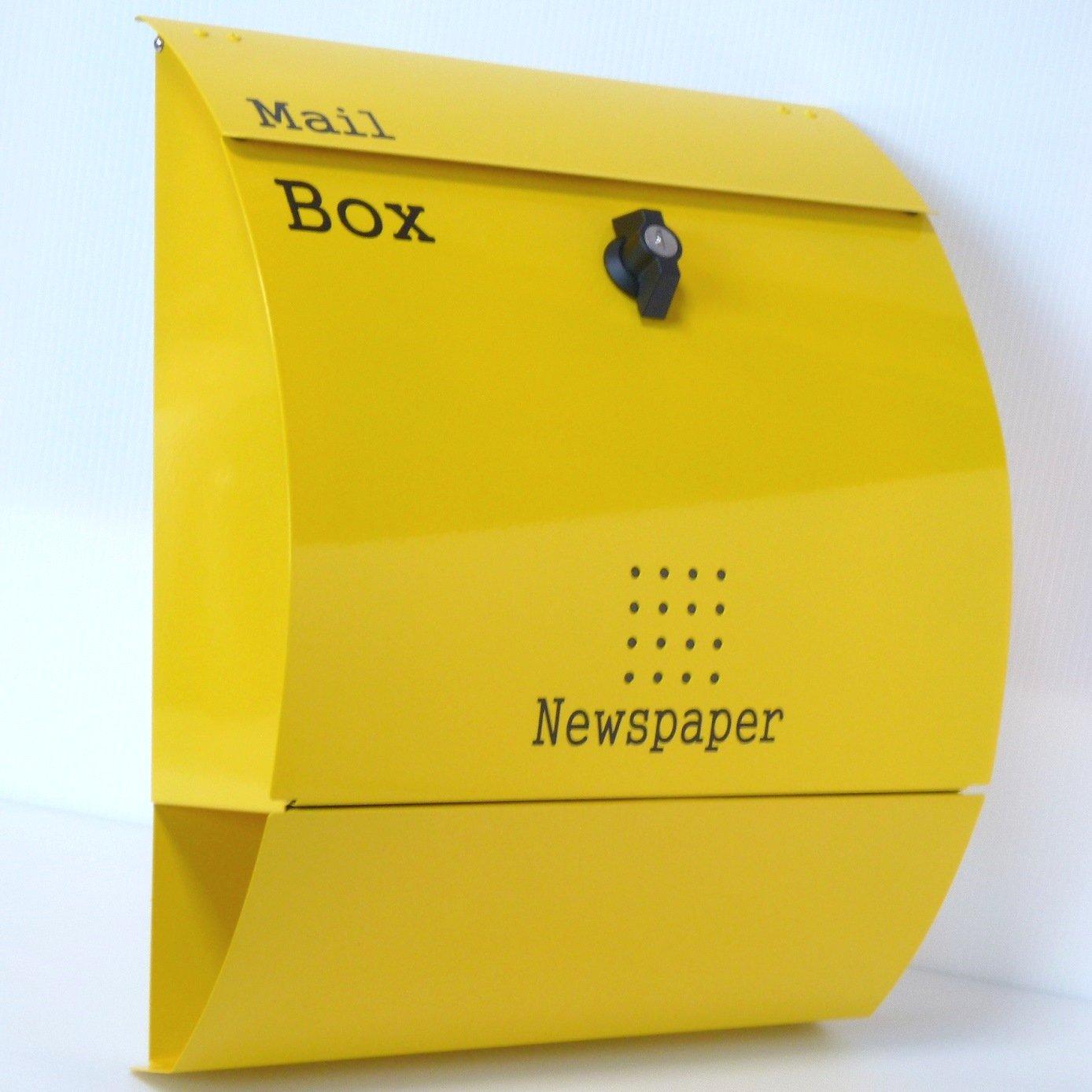 郵便ポスト郵便受け北欧風大型メールボックス 壁掛けプレミアムステンレスイエロー黄色ポストpm031 B018NNWFI0 12880