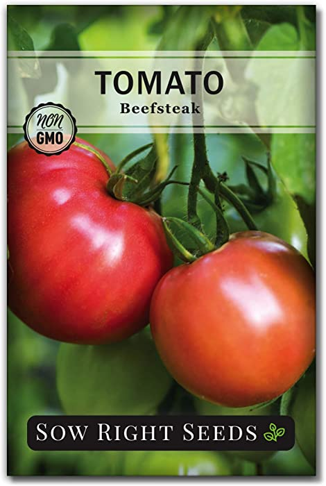 Sow Right Seeds - Beefsteak Tomato Seed for Planting - Non-GMO Heirloom Packet with Instructions to Plant a Home Vegetable Garden - Great Gardening Gift (1)