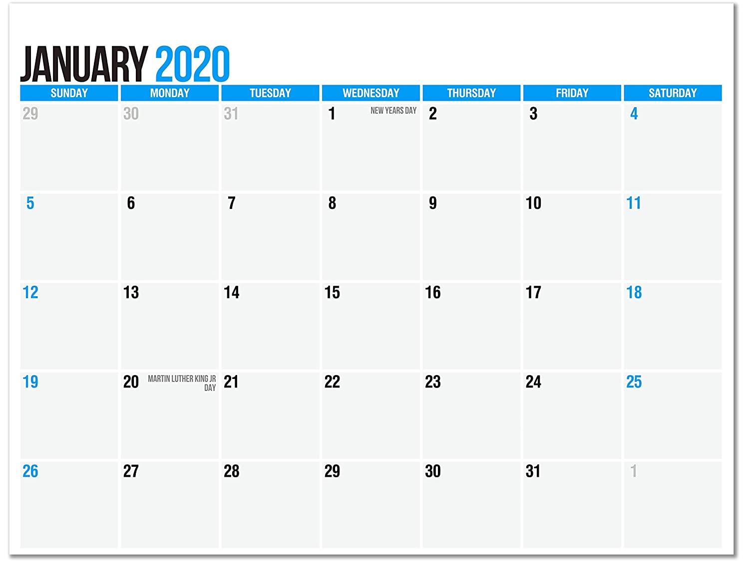 SplightPrints 2020 Magnetic Calendar Pad for Refrigerator, January 2020 to December 2020, 11 x 8.5 Inches, Thick Monthly Calendar Paper, Strong Fridge Magnets (12 Months)