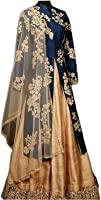 Sai creation Women's silk Embroidery Indo Western Suit (special_premium_quality_lehenga_ Free Size_Beige&blue_Multicolour)