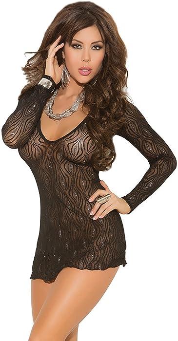 f8e3f1df1e9 Amazon.com  Elegant Moments Women s Sparkle Swirl Lace Long Sleeve Mini  Dress