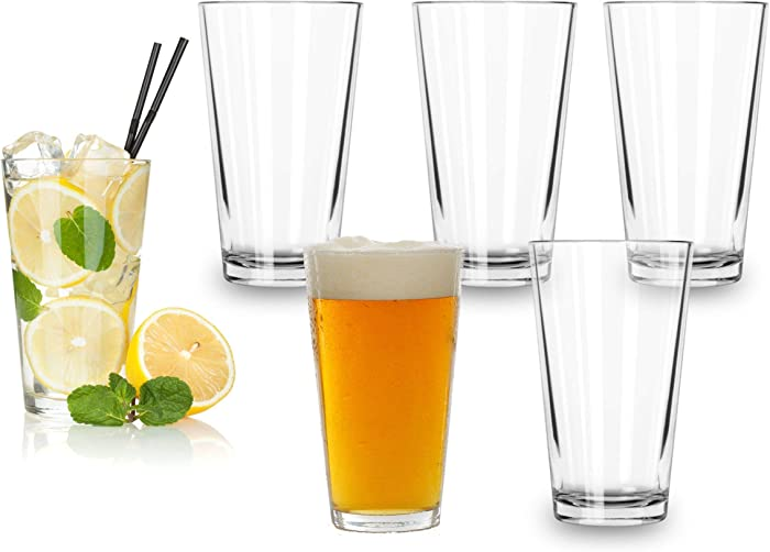 Classic Premium Beer Pint Glasses 16 Ounce – Set Of 6 Highball Cocktail Mixing Glass – Perfect for Cold Beverages, Soda, Water - Used in Bar, Restaurant, Pub