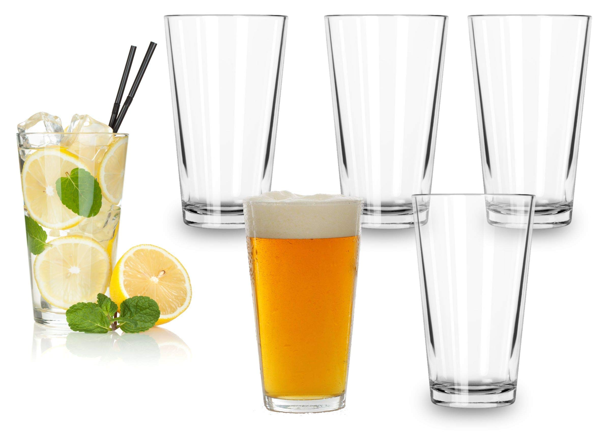 Classic Premium Beer Glasses 16 Ounce – Set Of 6 Pint Cocktail Mixing Glass – Perfect for Cold Beverages, Soda, Water - Used in Bar, Restaurant, Pub