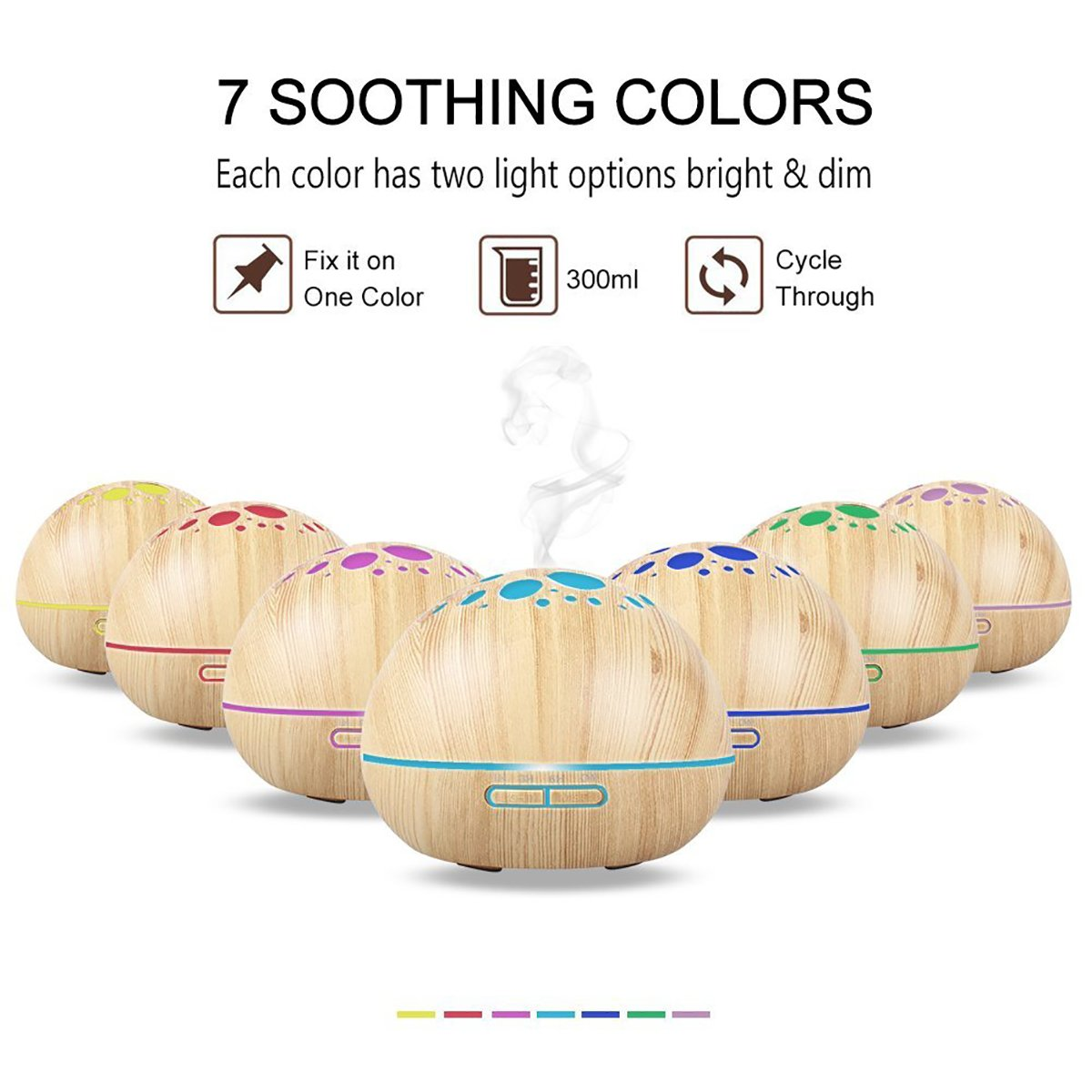 Aroma Essential Oil Diffuser Ultrasonic Cool Mist Humidifier with Adjustable Mist Mode 7 Color LED Lights and Waterless Auto Power-off for Office Home Study Yoga Spa 300ml (Light Wood) by RSL (Image #2)