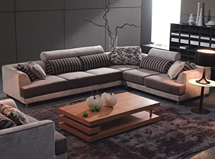 Amazon.com: Tosh Furniture Modern Beige Fabric Sectional ...