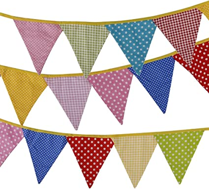 Random Color AX-AY-ABHI-93077 Tinksky Bunting Banners Flags for Wedding Birthday Party-Dot Grid Pattern,11pcs