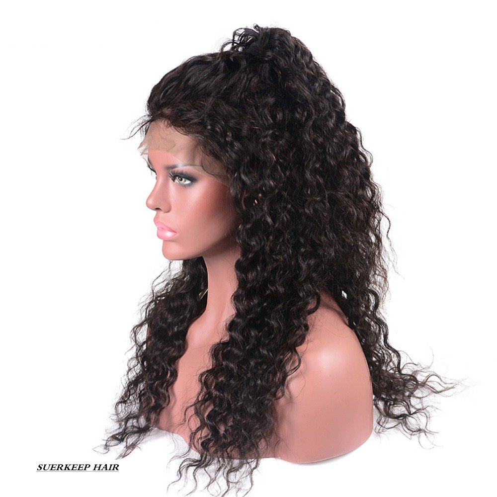 Suerkeep 8A Water Wave Virgin Brazilian Lace Front Wigs 150% Density Remy Weave Human Hair Lace Frontal Wigs With Pre-Plucked (24, Natural Color) by suerkeep (Image #3)