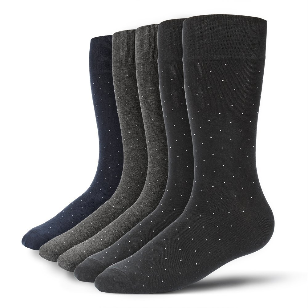 u&i Men's Premium Supima Cotton Dotted Dress Socks 5 Pack