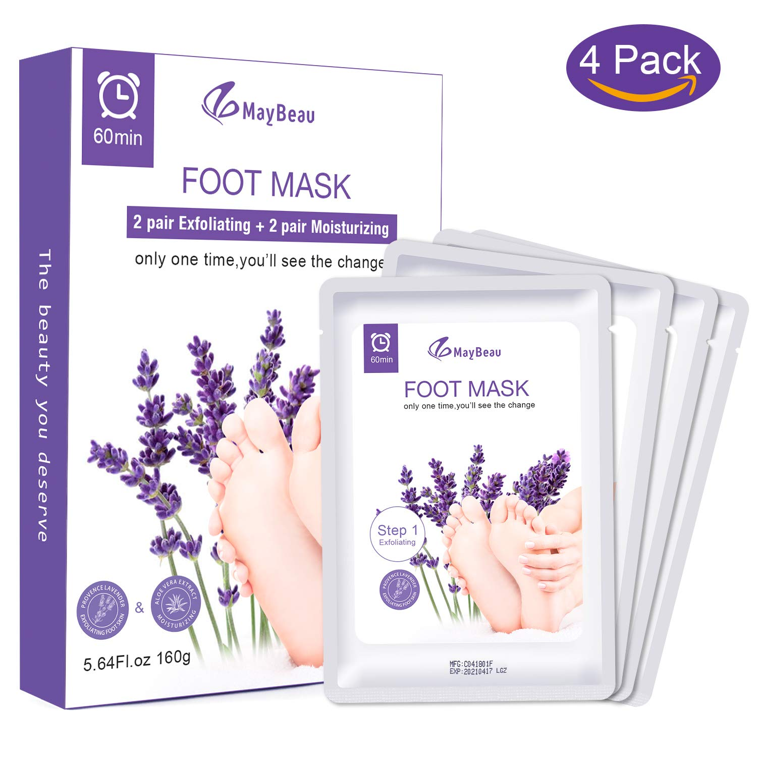Foot Peel Mask MayBeau 2 Pairs of Foot Masks Callus and Dead Skin Remover Exfoliating and Moisturizing Set