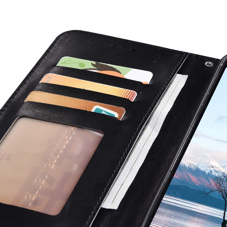Partong Coque Samsung Galaxy A8 2018,Coque Galaxy A5 2018 Portefeuille Glitter,R/étro Mandala Rouge motif Sparkle Diamant Housse /à Rabat Etui en Cuir Stand Flip Case Housse de Protection Magn/étique