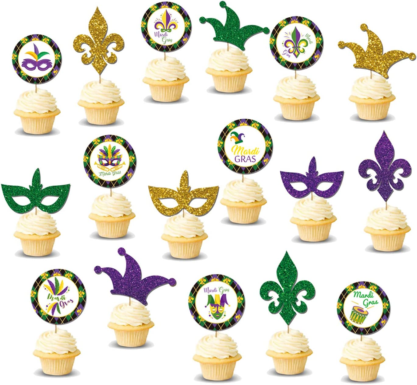 17 Pieces Mardi Gras Cupcake Toppers, Round Cardboard and Glitter Mask Fleur De Lis Cake Picks for Mardi Gras Party Decorations, Masquerade Birthday Party Supplies