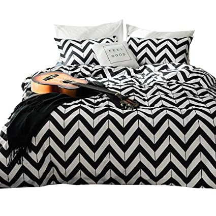 Amazon Com White And Black Chevron Bedding Sets Twin For Kids Boys