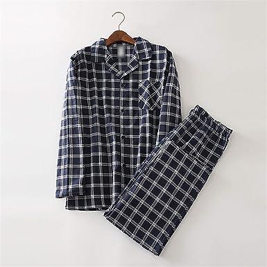Thadensama 100% Cotton Dinosaur Pajamas Sets Mens Sexy Plaid Casual Sleepwear for Male Pyjamas Pijama