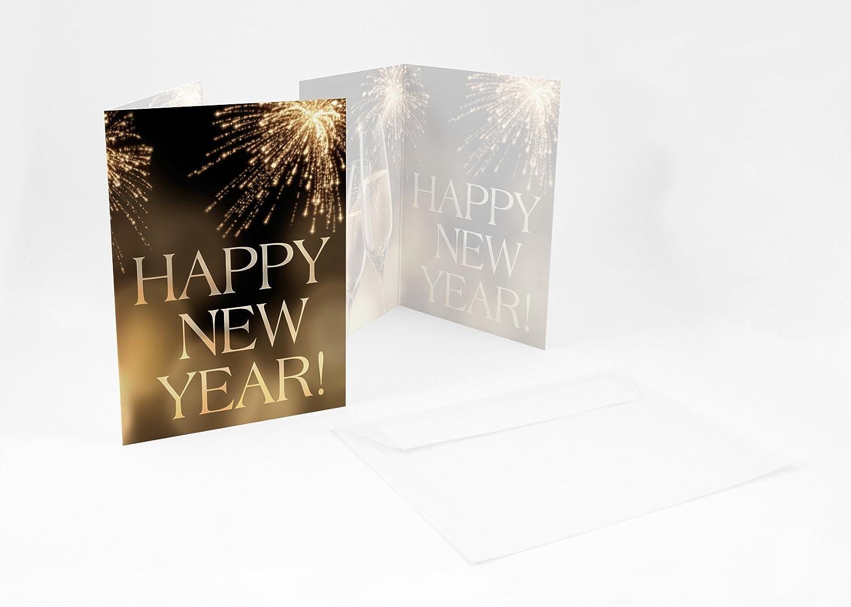 Briefumschläge24Plus 100 Wunderschöne Silvesterkarten + Umschlag Neujahrsgrüße HAPPY NEW YEAR   , A6,