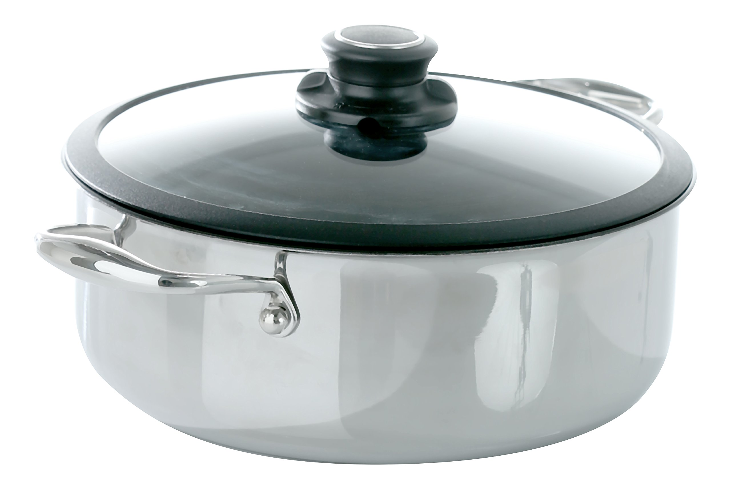 Frieling USA Black Cube Hybrid Stainless/Nonstick Cookware Casserole w/ Lid, 9 1/2-Inch Diameter, 4.0 Quart