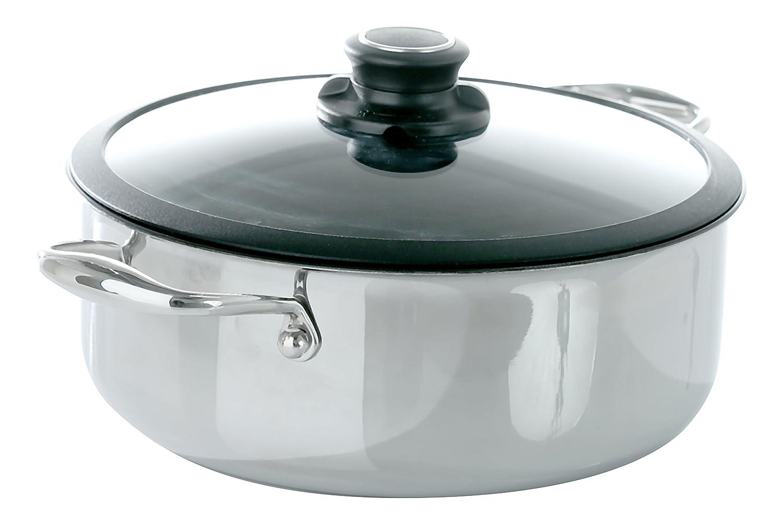 4.0-Quart Frieling USA Black Cube Hybrid Stainless Nonstick Cookware Casserole w  Lid, 9 1 2-Inch Diameter, 4.0 Quart