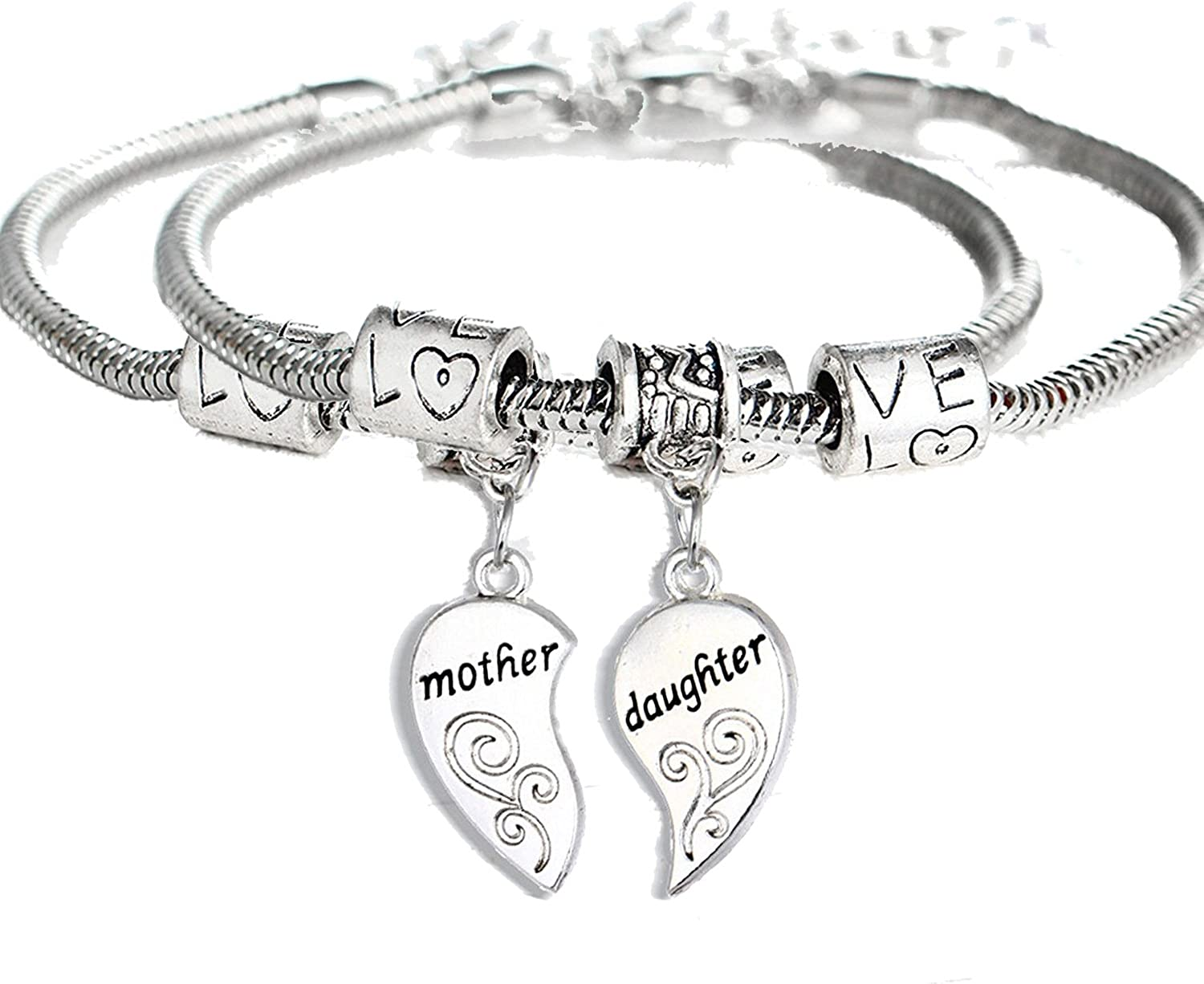 B06XDMNCSS YEEQIN 2PCs Matching Heart Mother Daughter Bracelets Mother Daughter Jewelry Set Gift for Mom or Daughter 71b1iPtL-uL