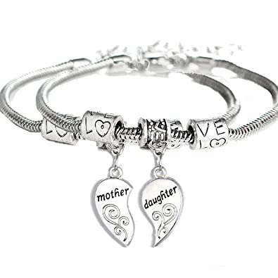 ff288c1a1 Amazon.com: YeeQin 2PCs Matching Heart Mother Daughter Bracelets Mother  Daughter Jewelry Set Gift for Mom or Daughter: Jewelry