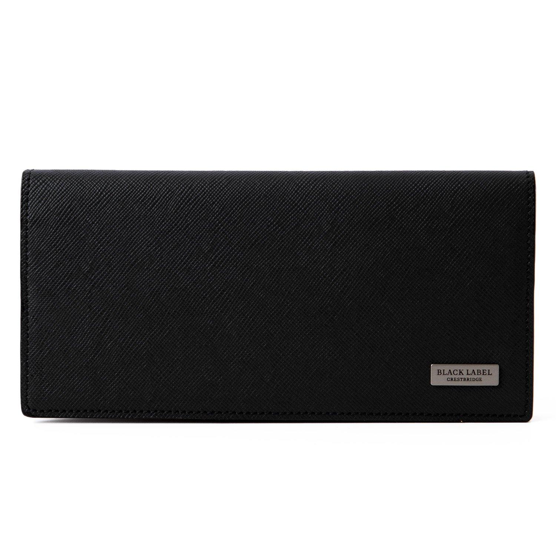 [名入れ可] (ブラックレーベル クレストブリッジ) BLACK LABEL CRESTBRIDGE カラーエンボス クレストブリッジチェック ロング ウォレット 本革 長財布 ショップバッグ付 B07CKRZBMD 名入れあり|ブラック ブラック 名入れあり