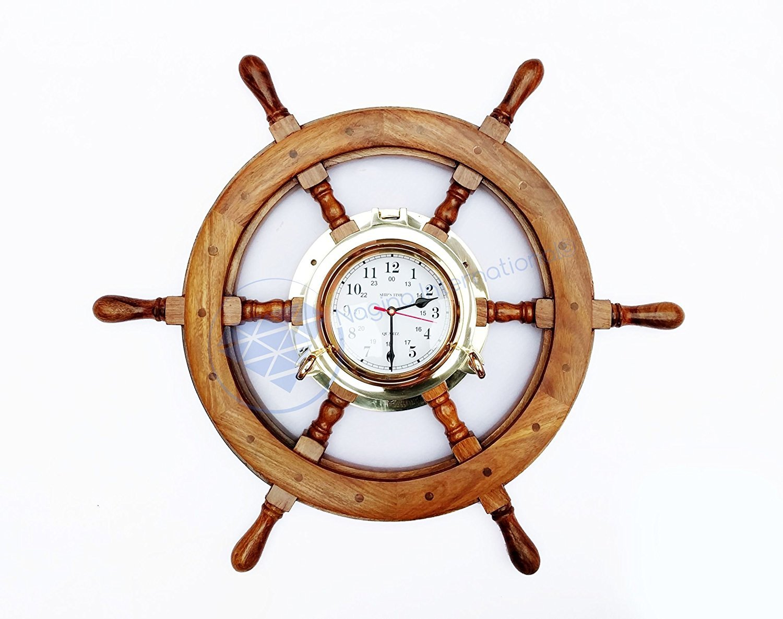 Nautical Premium Wide Brass Porthole Ship Wheel Clock   Wall Hanging   Numerals   Vintage Gift   Nagina International (48 Inches)