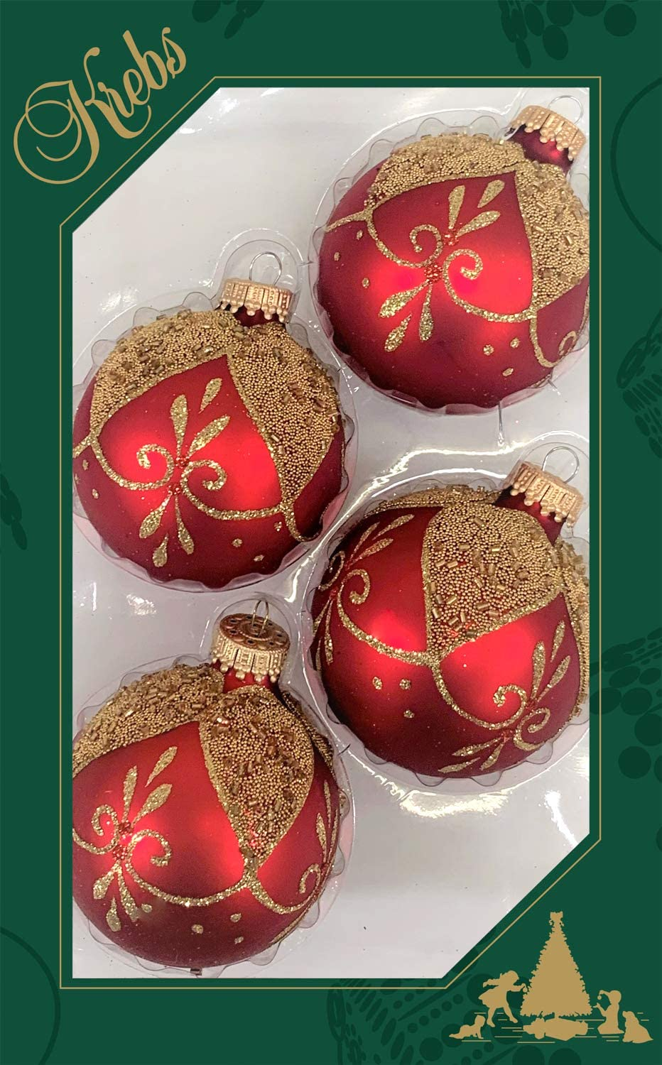 Christmas Ball Ornaments Made in The USA Designer Seamless Chiffon Gold 2 5//8 8 Pieces 67mm