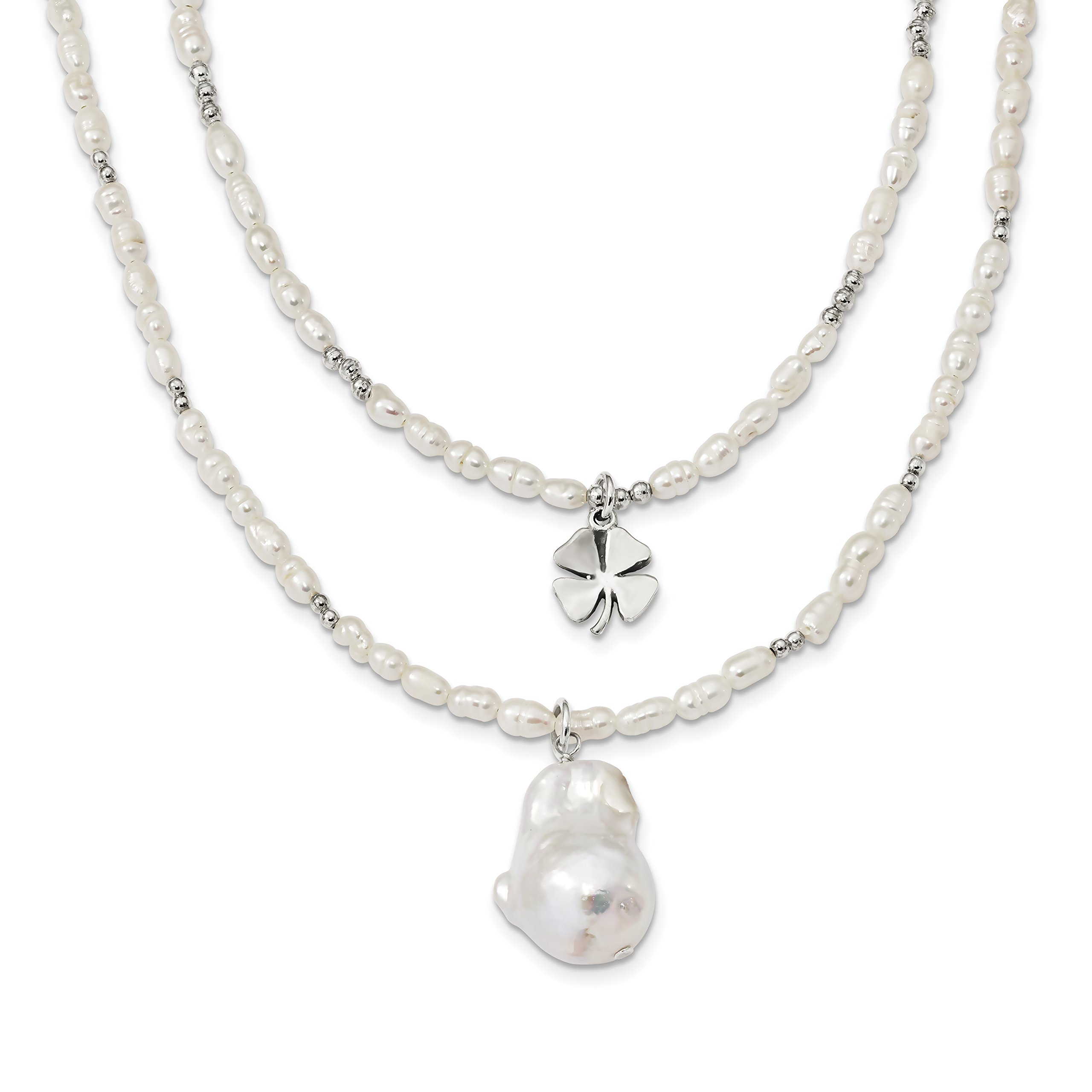 ICE CARATS 925 Sterling Silver Freshwater Cultured Pearl 2 Strand Clover Inch Extension Chain Necklace Fine Jewelry Gift Set For Women Heart