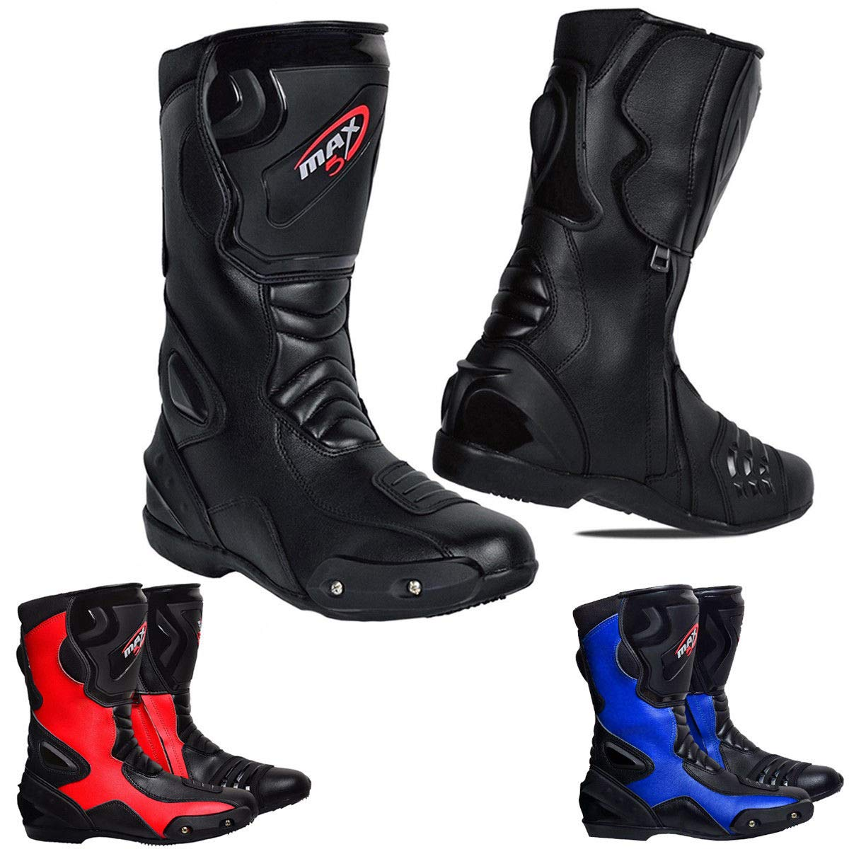 Max5 Waterprof Motorbike Leather Boots Sports Race Motorcycle Mens Touring Shoes Motorbike Blue, Black, Red CE Approved Armoured Boots (Red, 5 UK) STNG-007