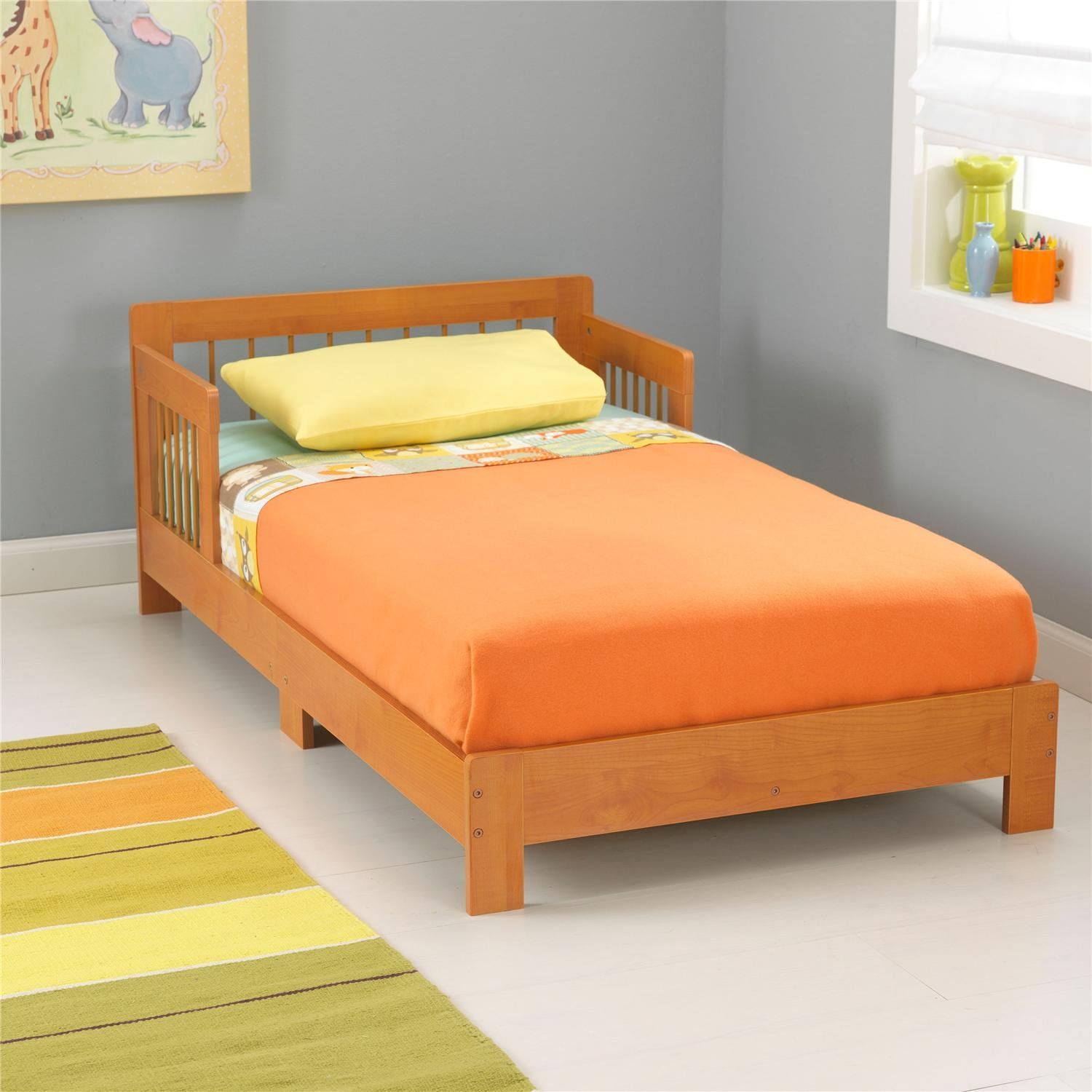 amazoncom kidkraft toddler houston bed espresso toys games - Yellow Bed Frame