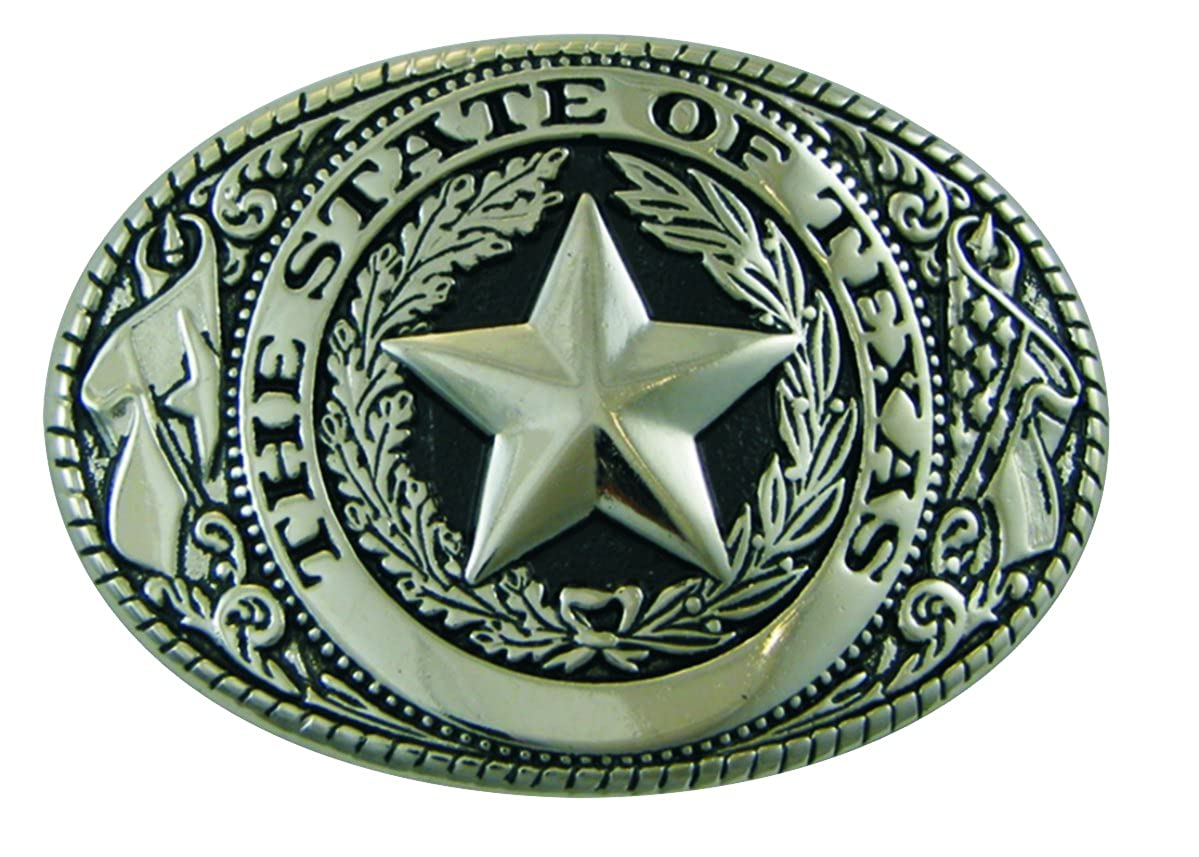 Texas State Seal Belt Buckle, Standard Size, Oval Silver-tone Finish AZSOT158SB