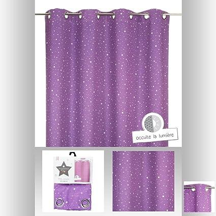 Rideau occultant violet étoilé pour chambre enfant