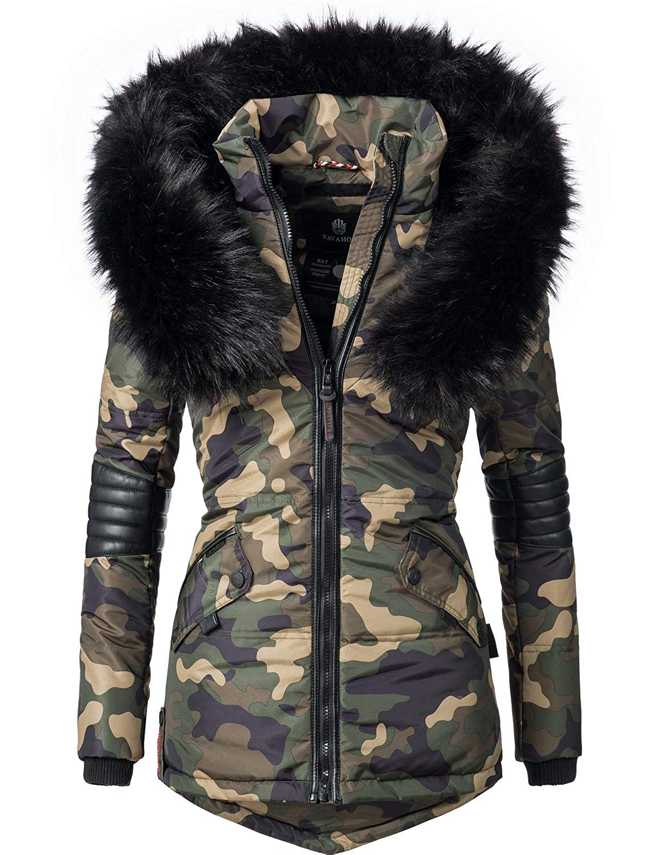 TALLA XL. Navahoo Nirvana Chaqueta de Invierno para Mujer con Capucha de Pelo sintético Negro 8 Colores XS-XXL