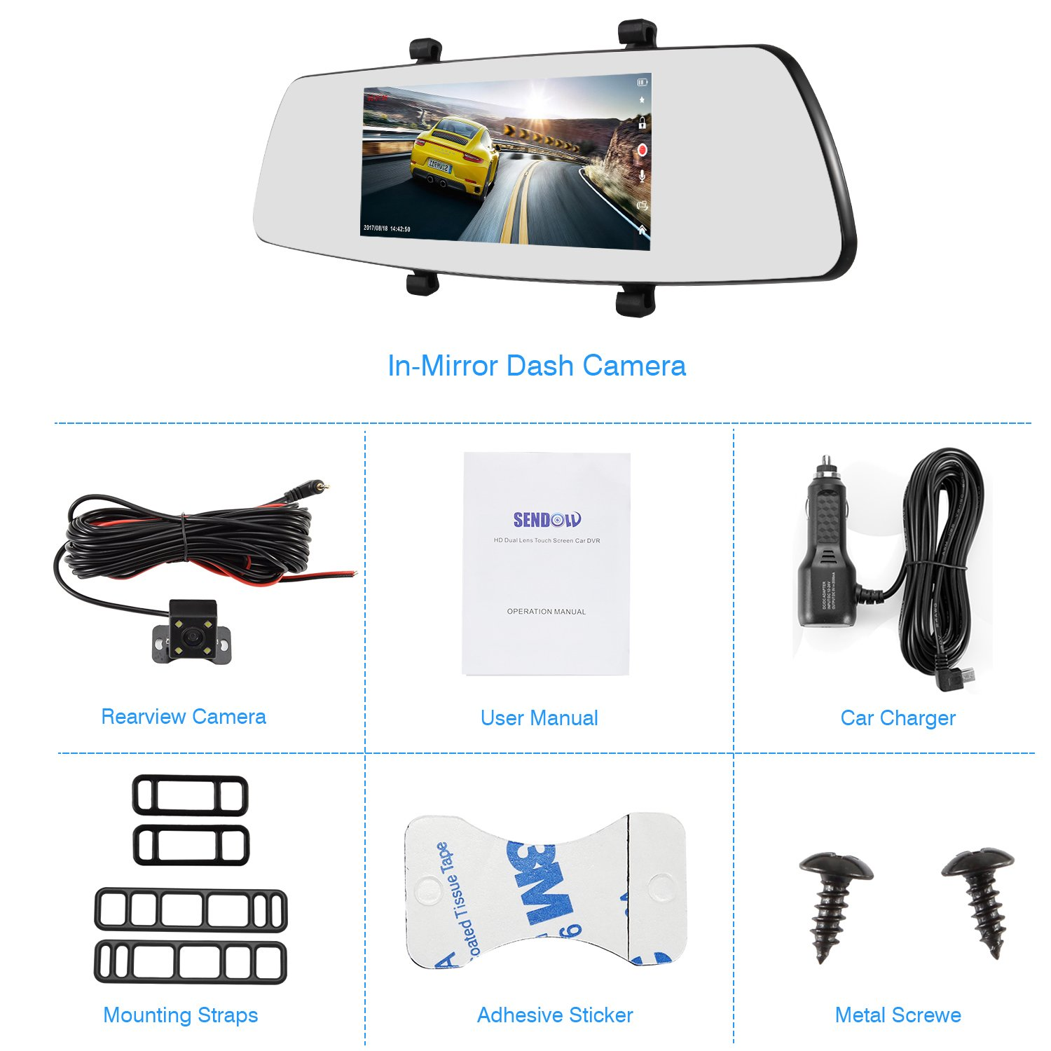 SENDOW Mirror Dual Dash Camera 7 Inch 1080P IPS Touch Screen 170° Wide Angle Rearview Dash Camera Vehicle Recorder, Car DVR with Parking Monitor WDR Loop Recording by SENDOW (Image #5)